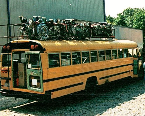 The very early days. Until we could fill oceangoing containers, Vine volunteers drove buses full of supplies to Guatemala.