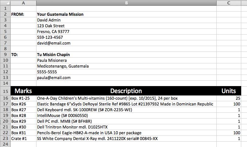 - DSS Packing List Spreadsheet