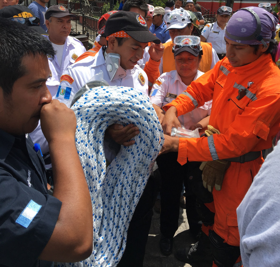 Dr Amézquita distributes rescue supplies to his team. You bought the supplies.
