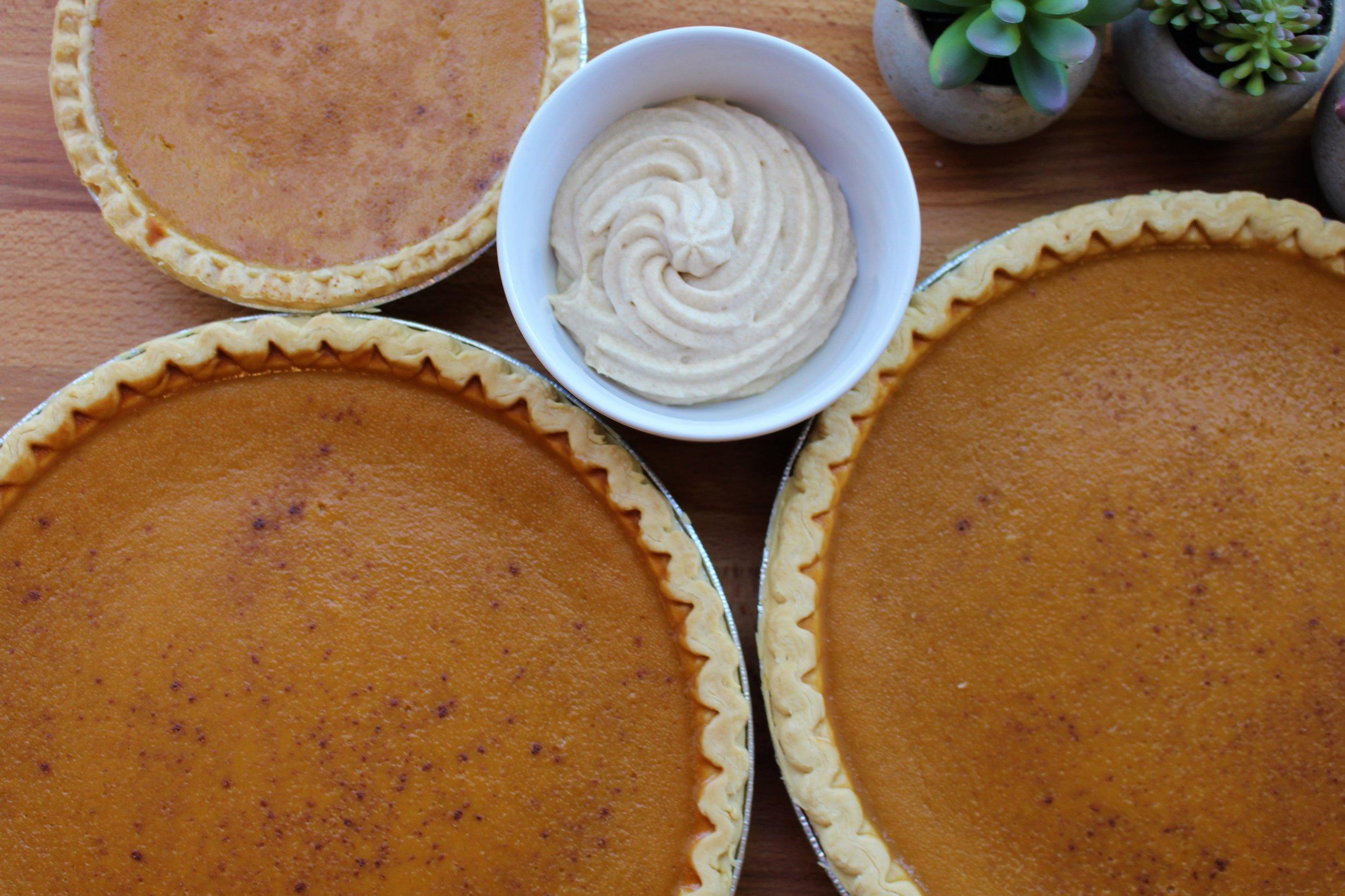 Thanksgiving pumpkin pie with brown sugar and cinnamon whipped cream