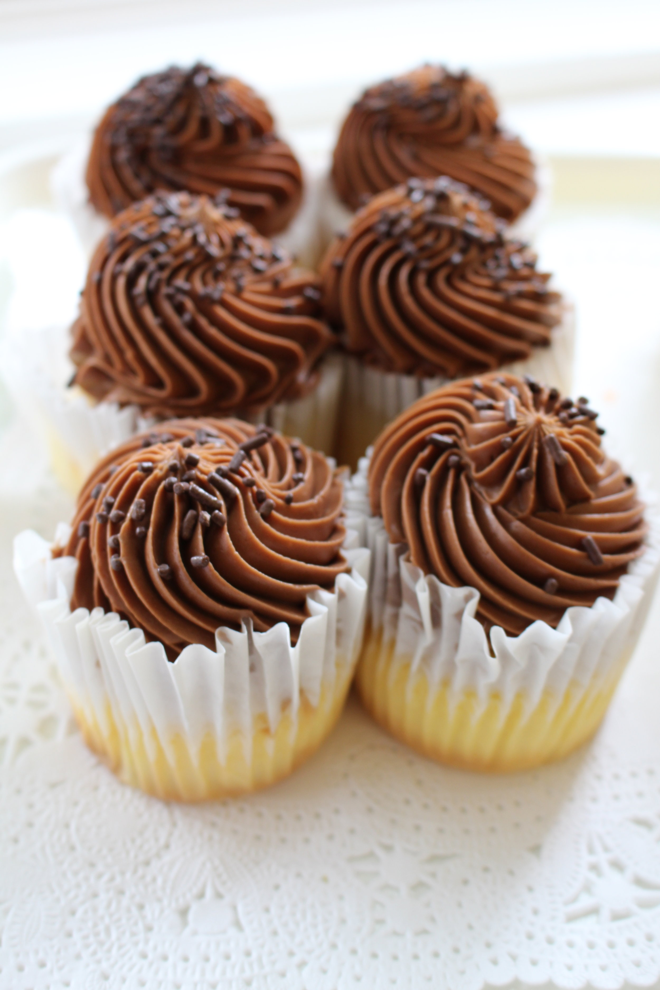 Yellow Cupcake with Chocolate Buttercream Frosting