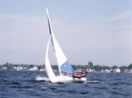 Racing a Laser at Thousand Islands, circa 2003