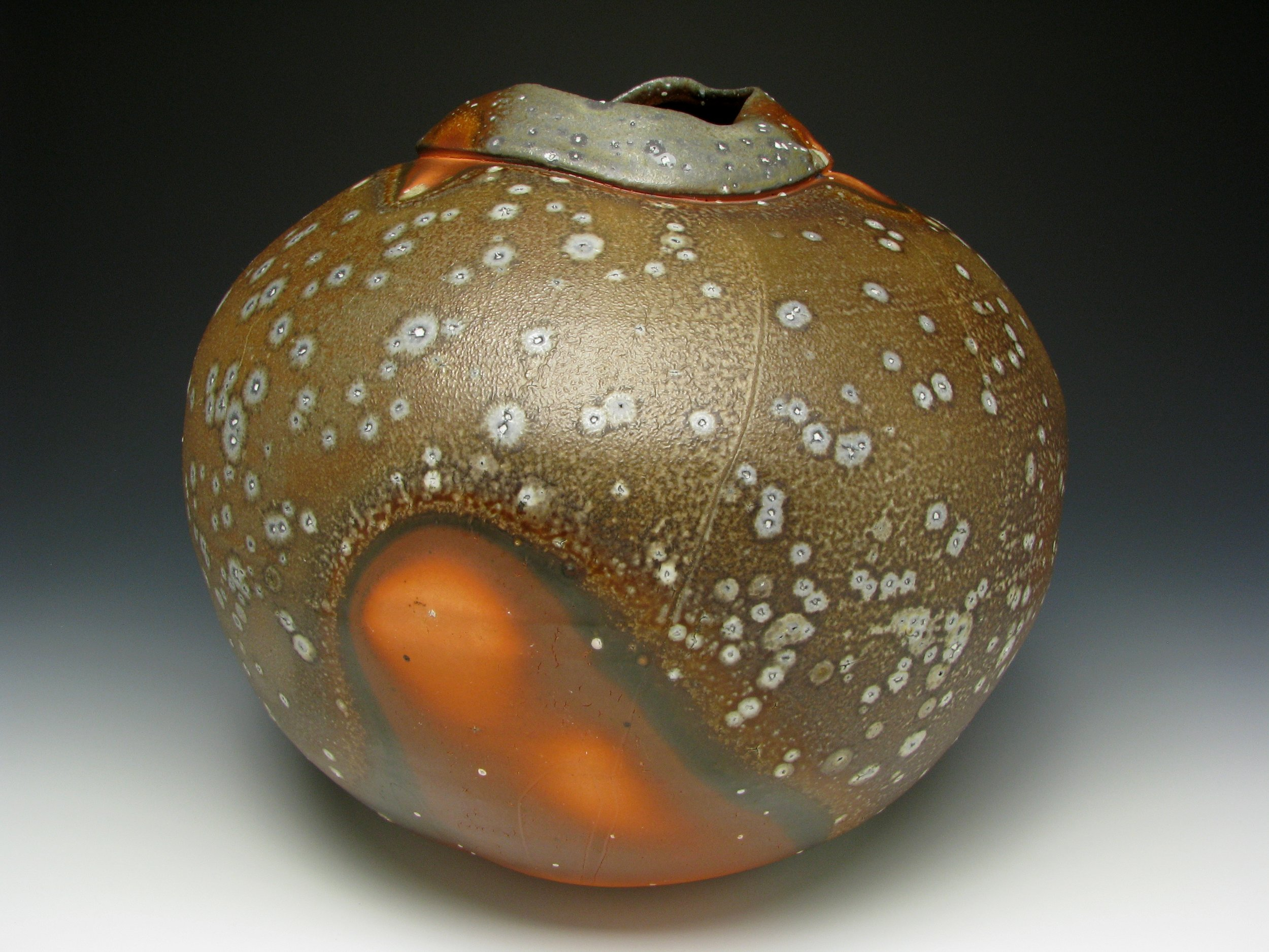 Grava - Soda Speckles Jar - Soda Fired cone 10 porcelain with Flash Slip. $600.jpg