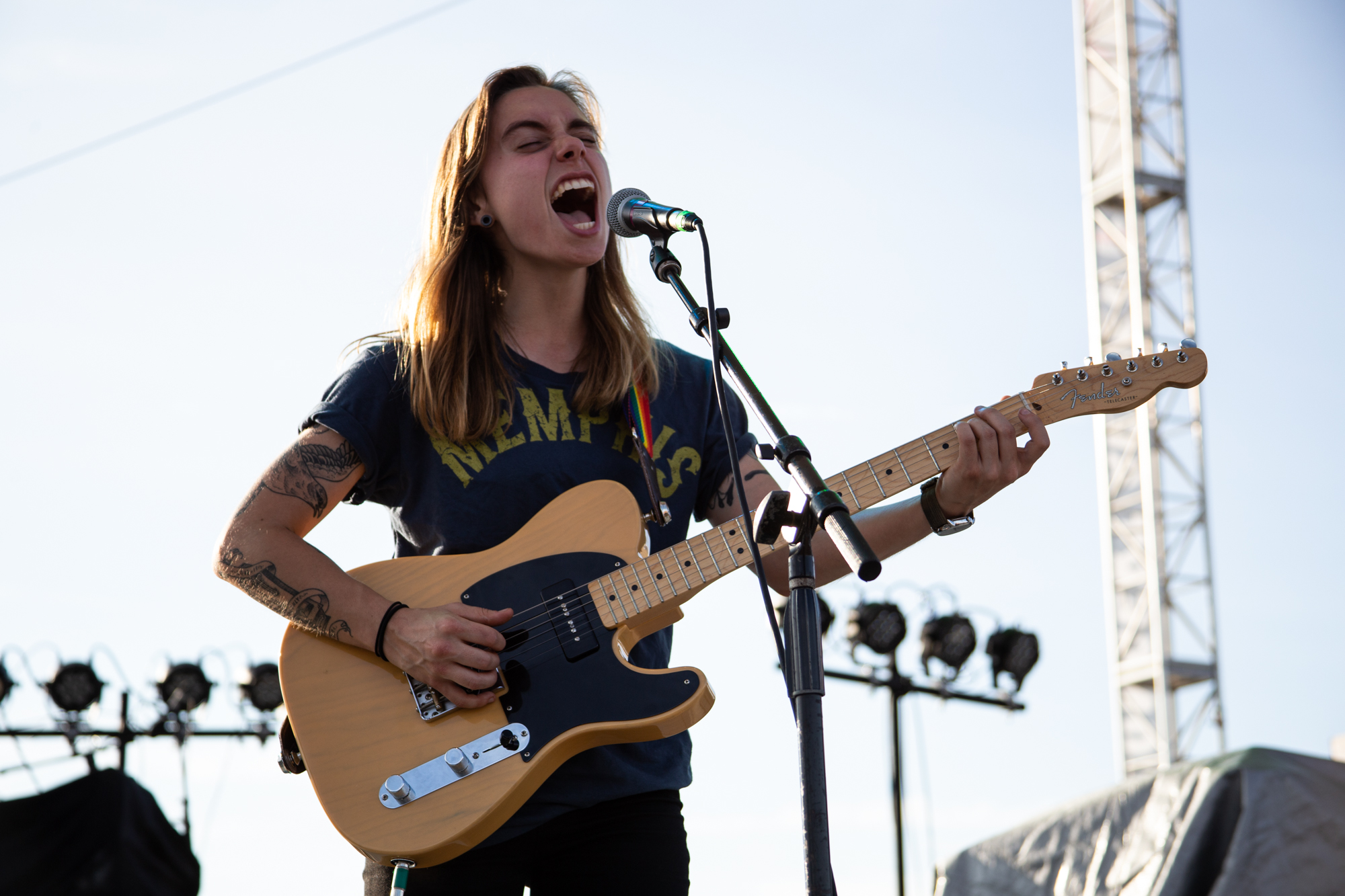 Julien Baker performs at Shadow of the City festival in Asbury Park, NJ on August 25, 2018.