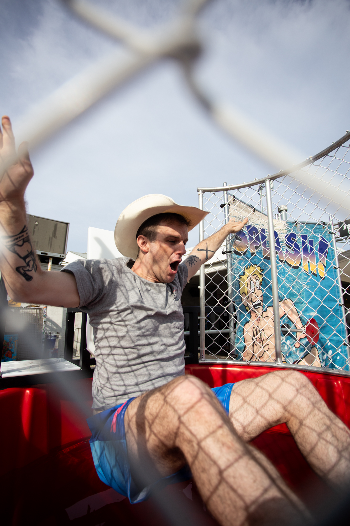 Mikey Hart participates in a dunk tank for LGBTQ+ equality foundation The Ally Coalition at Shadow of the City festival in Asbury Park, NJ on August 25, 2018.