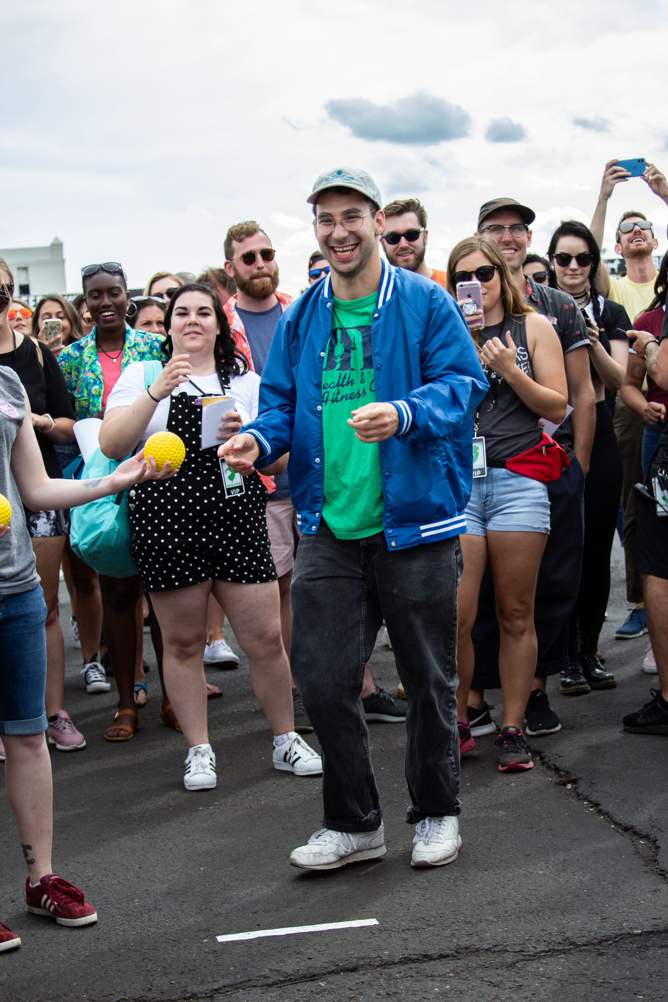 Makayla Bergasse (left) and Jack Antonoff (right) hang out in the crowd at Shadow of the City festival in Asbury Park, NJ on August 25, 2018.