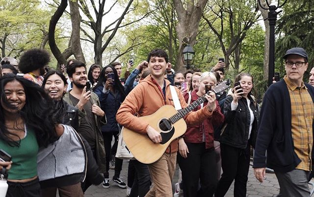 I love nyc! Surprise @vampireweekend acoustic show in Washington Square Park for release day of #fatherofthebride 🌎