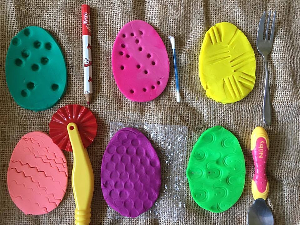 The tools next to the Eggy Playdough shape that they were used on.