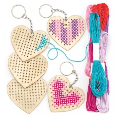 - Heart Wooden Cross Stitch keyring, Baker Ross, £3 .75 for a pack of 5