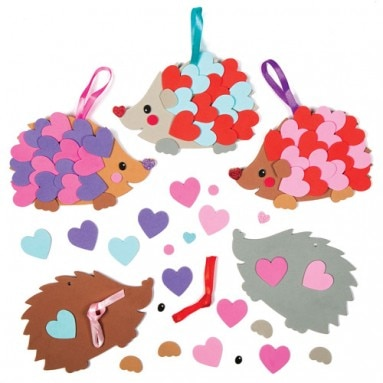 - Heart Hedgehog Decoration Kits, Baker Ross, £3.75 for a pack of 5
