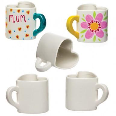 - Heart Porcelain Mugs, Baker Ross, £5.75 for a pack of 4