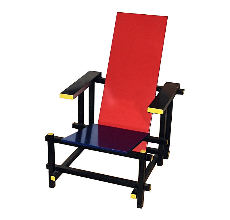 Red and Blue Chair  , designed by  Gerrit Rietveld , version without colors 1919, version with colors 1923