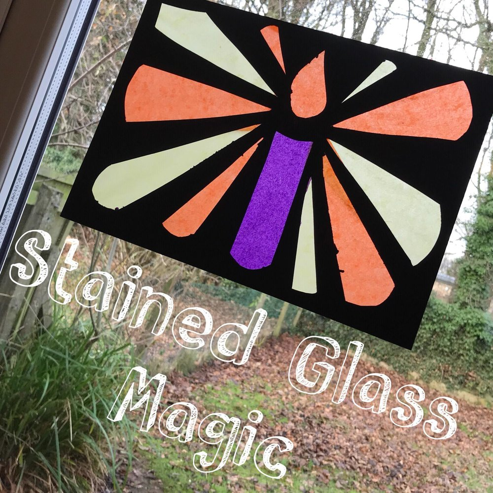Tissue paper and card stained glass