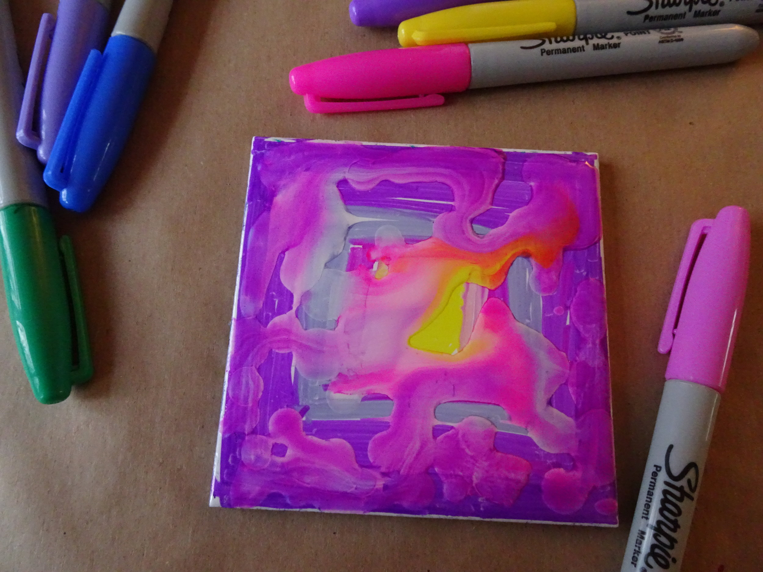 After the rubbing alcohol has been put on! Sooo pretty. This was one of my favourite tiles Little Feet A created.