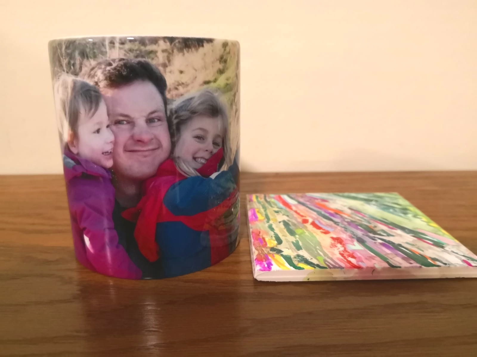 Her tile in situ with the mug we sent Daddy Big Foot all the way across the globe. She was very proud of her tile.