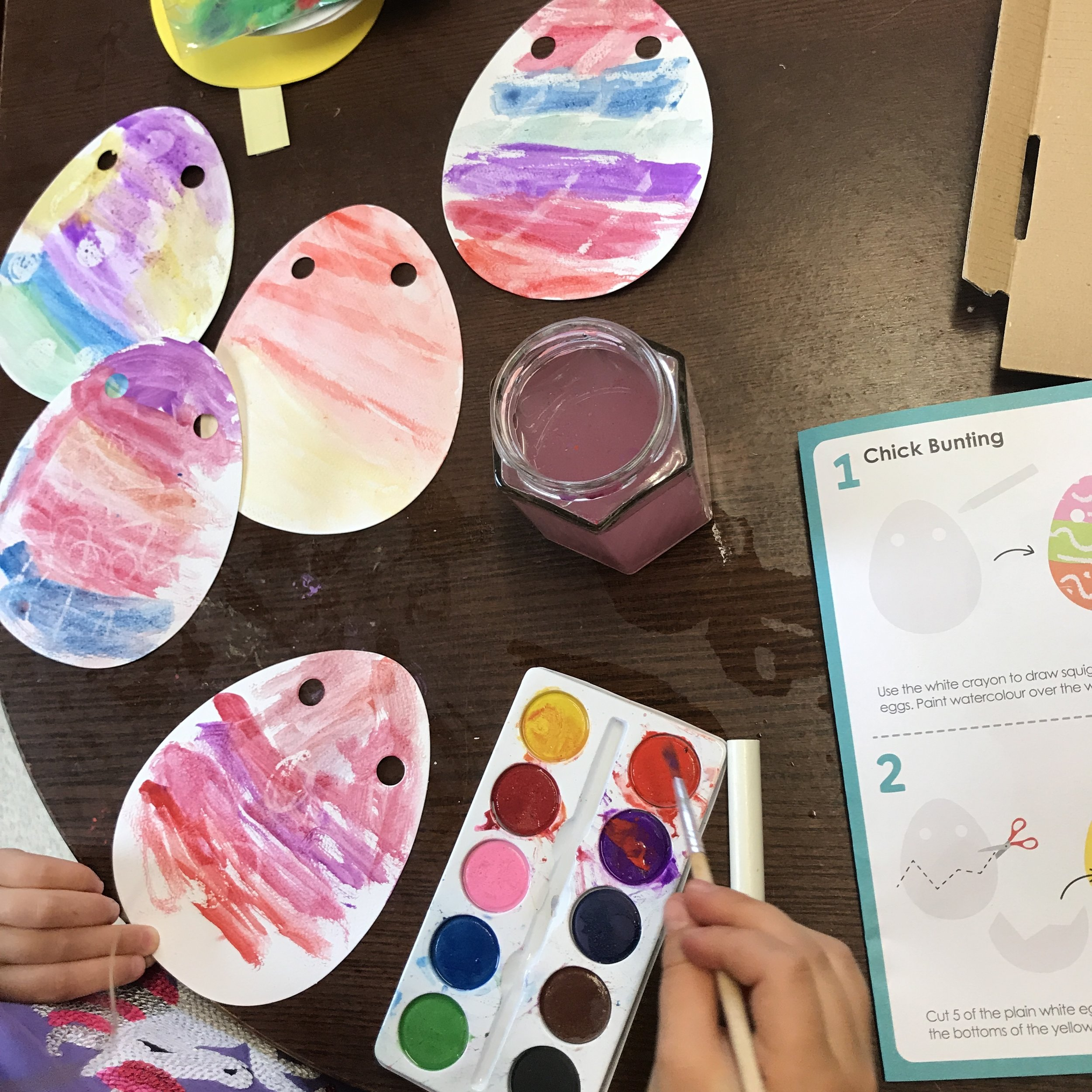 Using the wax crayon resist theory, make egg decorations!
