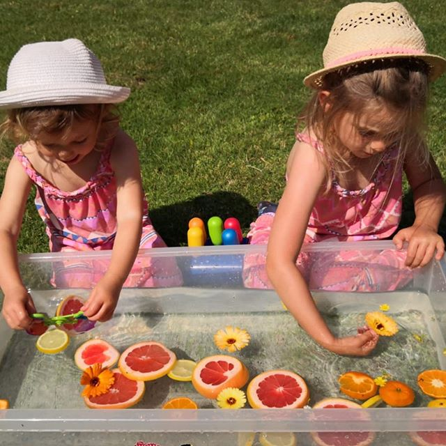 Citrus & Flower Sensory Bin! 🍋 🍊 🌼🍋🍊🌼🍋🍊🌼 A super easy weekend sensory activity. Play around with your Little Feet's taste buds, fruit and colour recognition. Wonderful for a summers day in the garden. We even added orange blossom liquid into the water for an additional sense. . . . #sensorybin #sensorybins #sensoryplay #summerplay #sensoryactivities #outdoorsensoryplay #exploration #fivesenses #childsplay #theoutdoors #creativelife #creativekids #therainbowtreeblog #citrus #flowerplay #kidplay #toddlerplay #quiettime #amomentspeace #parenthoodunlocked #parenthood #motherhood #frugalliving #simpleliving #friyay