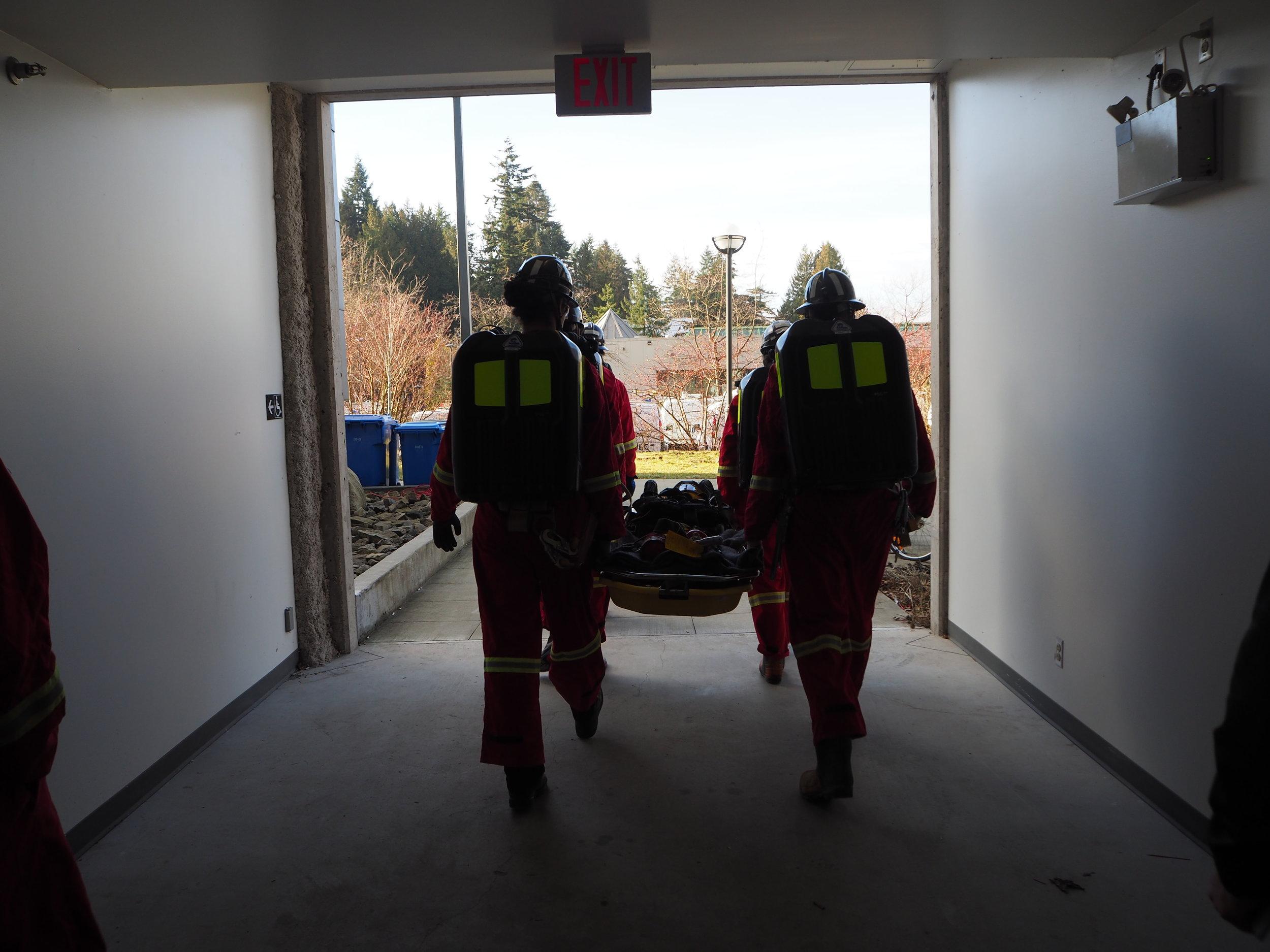UBC Mine Rescue team practicing at the University of British Columbia