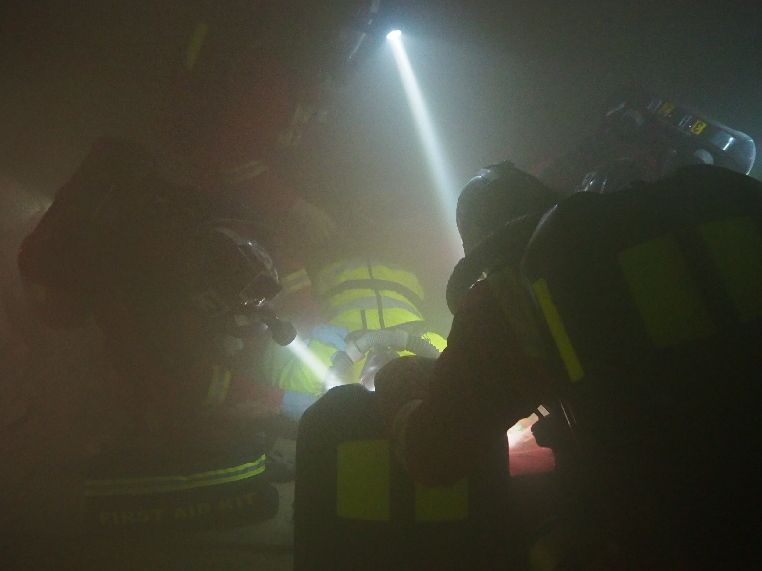 Applying O2 to an unconscious casualty at the 2017 MERD