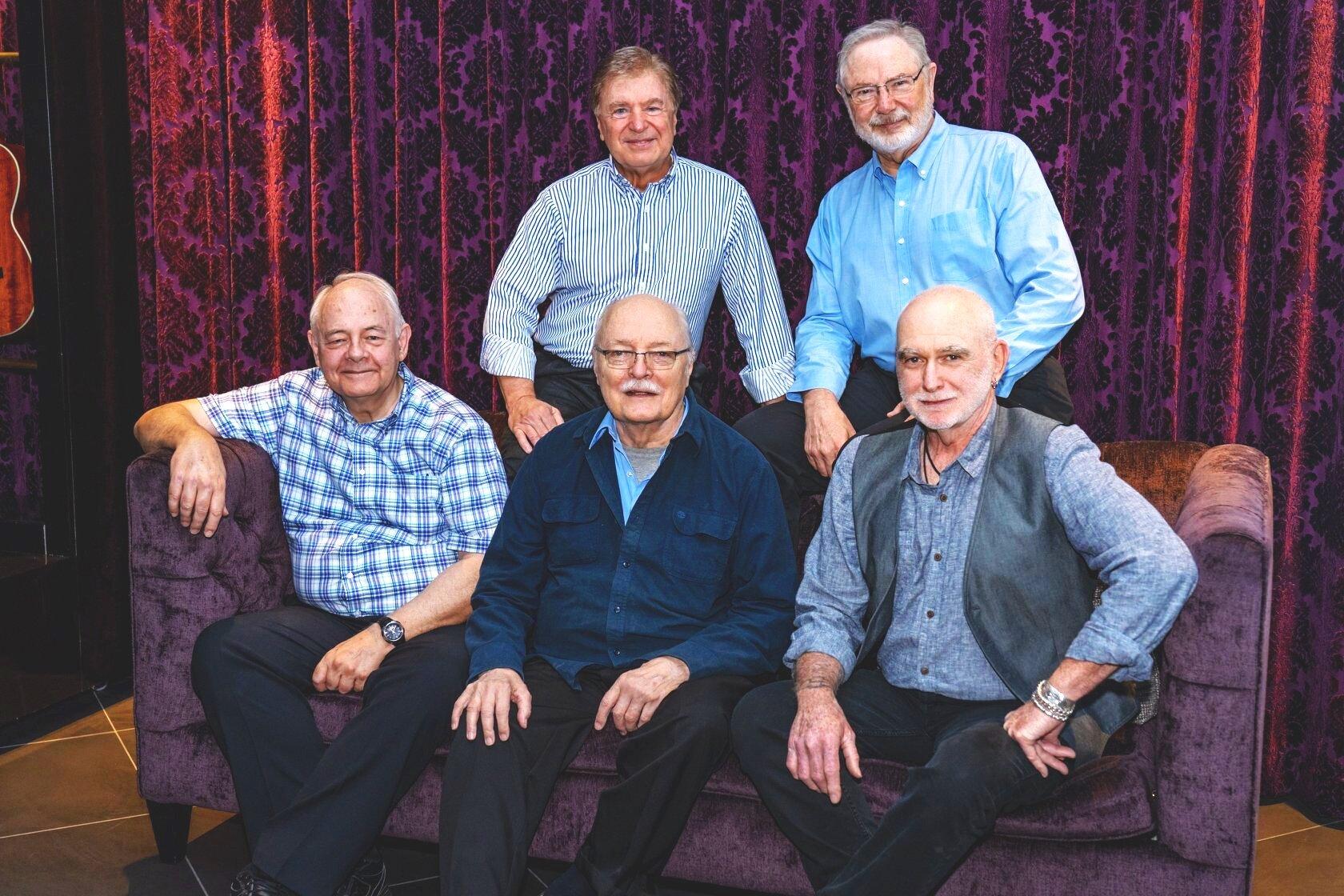 The St. Louis Jesuits (September, 2019): Bob Dufford, Jon Foley, Tim Manion, Dan Schutte, and Roc O'Connor.