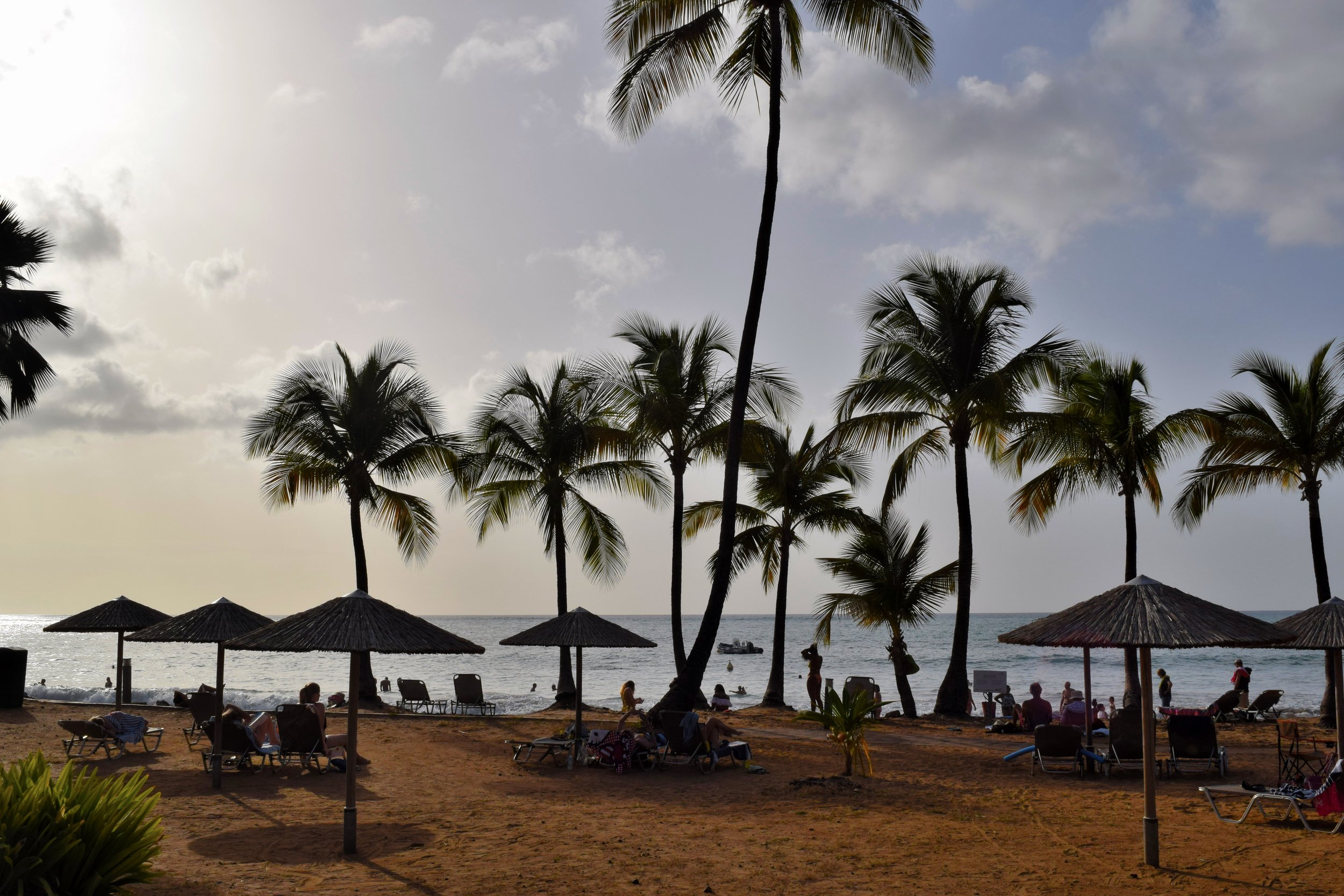 Views from the sand at Langley Resort Fort Royal in Guadeloupe.
