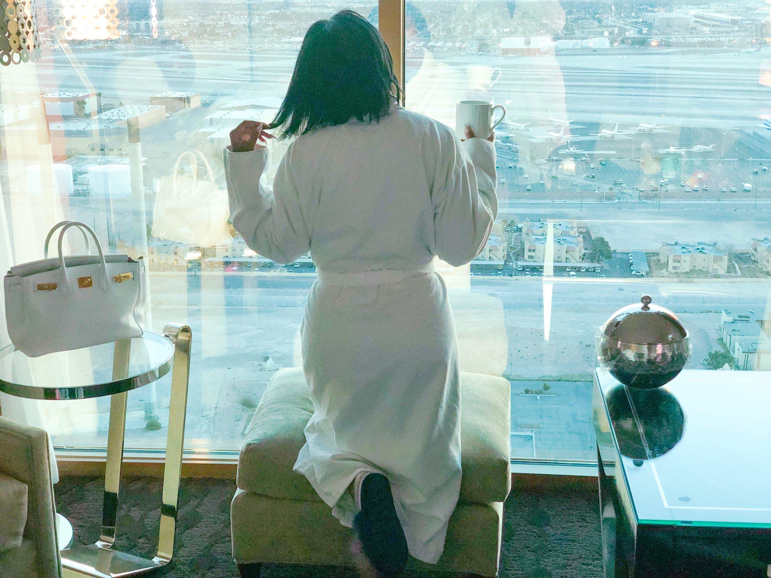 Shaunda enjoying her view of Las Vegas from her room in the Four Seasons Hotel Las Vegas.