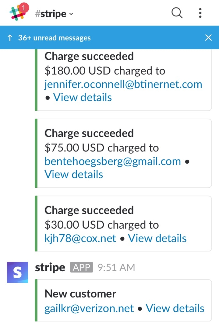 #Stripe - When a Neighbor sets up their Neighbor Account, their email address will get added to this channel. This channel keeps record of payments, refunds, and when new clients are added. If you need to verify that a Neighbor has an account set up, you can search this channel. Just because we have their info in Agile, it doesn't mean that we have their card info in Stripe!If you cannot find the Neighbor in this channel, double check by searching their email address on Stripe. If you still cannot find it, send the Neighbor the link to set up their Neighbor account.