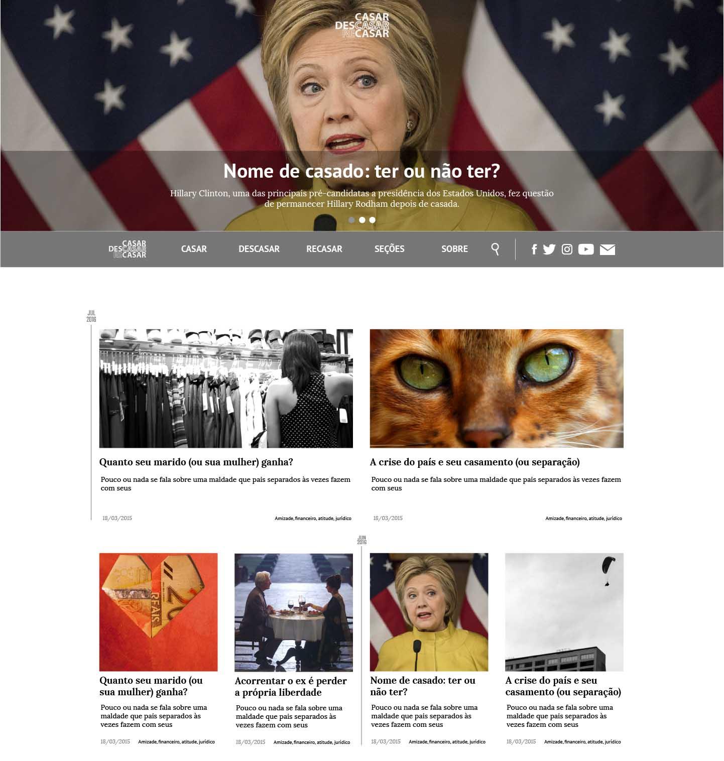 Homepage layout.