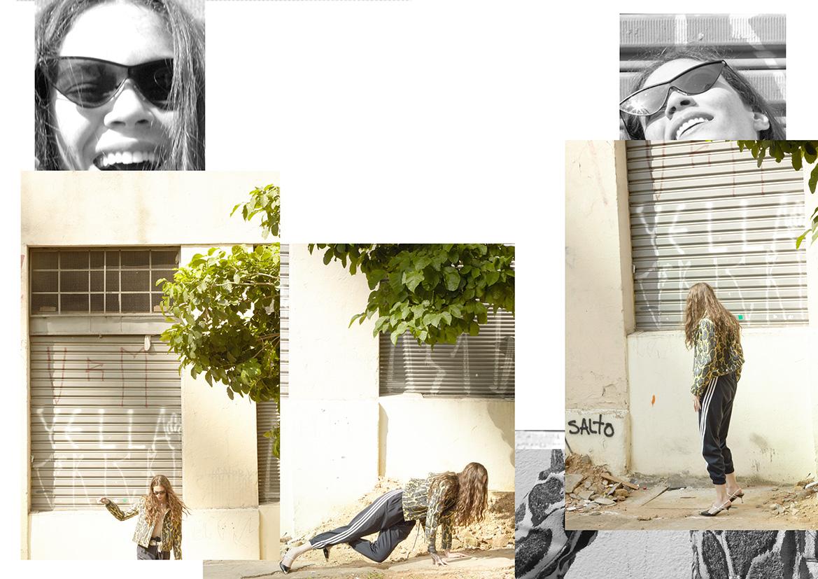 Casaco Louis Vuitton, Calça Adidas, Sapato Prada, Óculos Opening Ceremony
