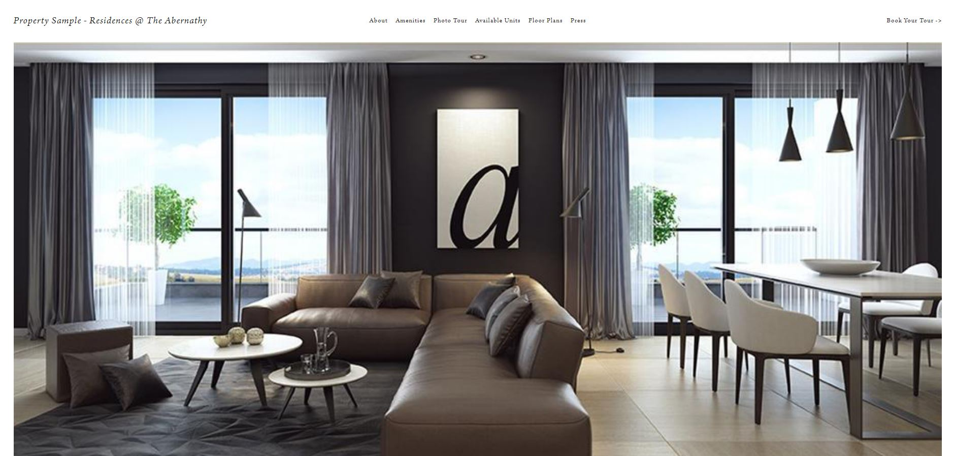 Property sales website focused on aspirational marketing for luxury new development. The site features HD, full screen photos of available units, lobby and common areas, and detailed pictures of amenities. Potential buyers can download floorplans, complete pre-qualification survey, and schedule appointments through the site.