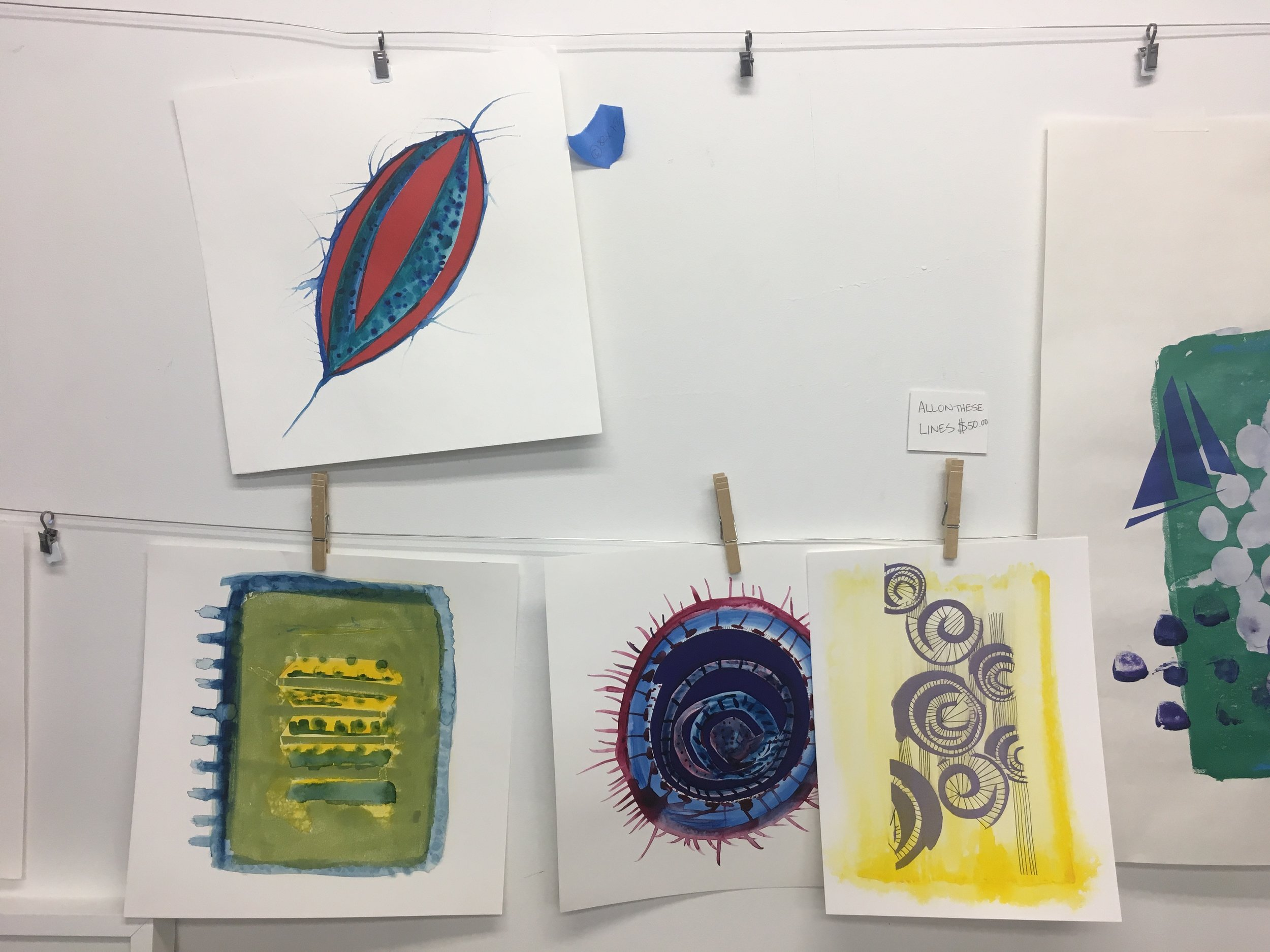 Drawings and prints in Jen's studio.