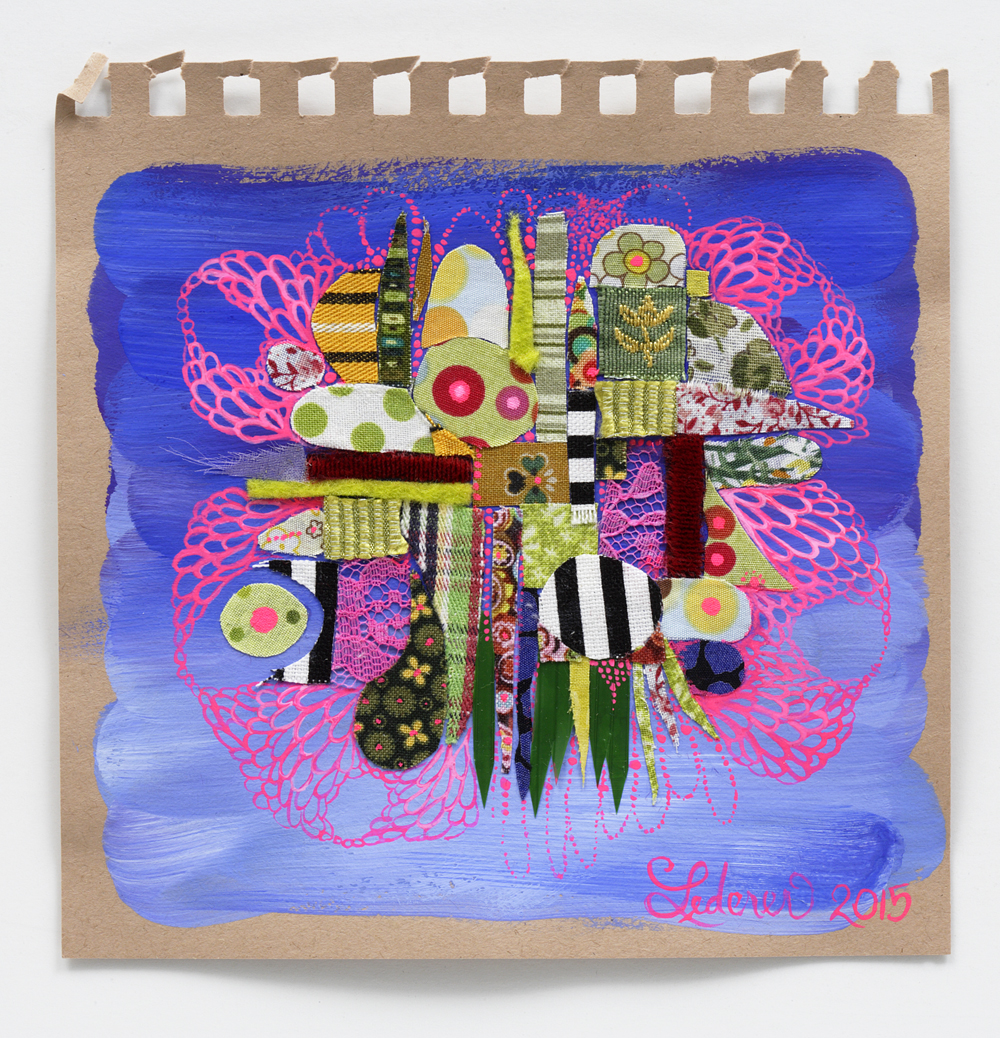 Quilt Constellation IV,  2015, mixed media, 6 x 6 inches. Courtesy of carrielederer.com