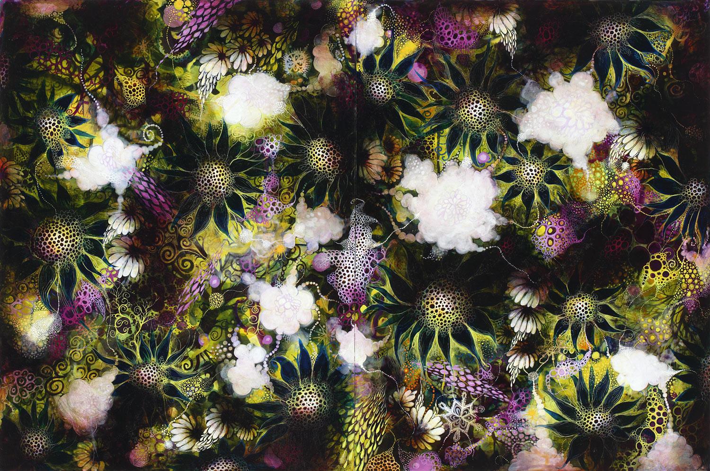 Wonderous Strange III,  2015, acrylic on wood panel, 24 x 36 inches. Image courtesy of carrielederer.com
