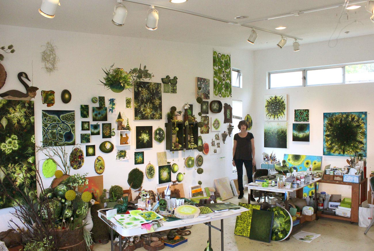 Carrie Ledder in her studio in Oakland, CA.