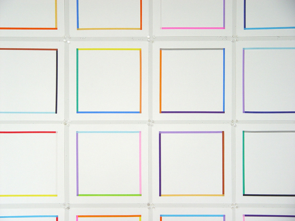 """Detail,  Four Color Squares,  2006, origami paper on white paper, 11"""" x 11"""" each, series of 24. Image courtesy of Patricia Zarate."""