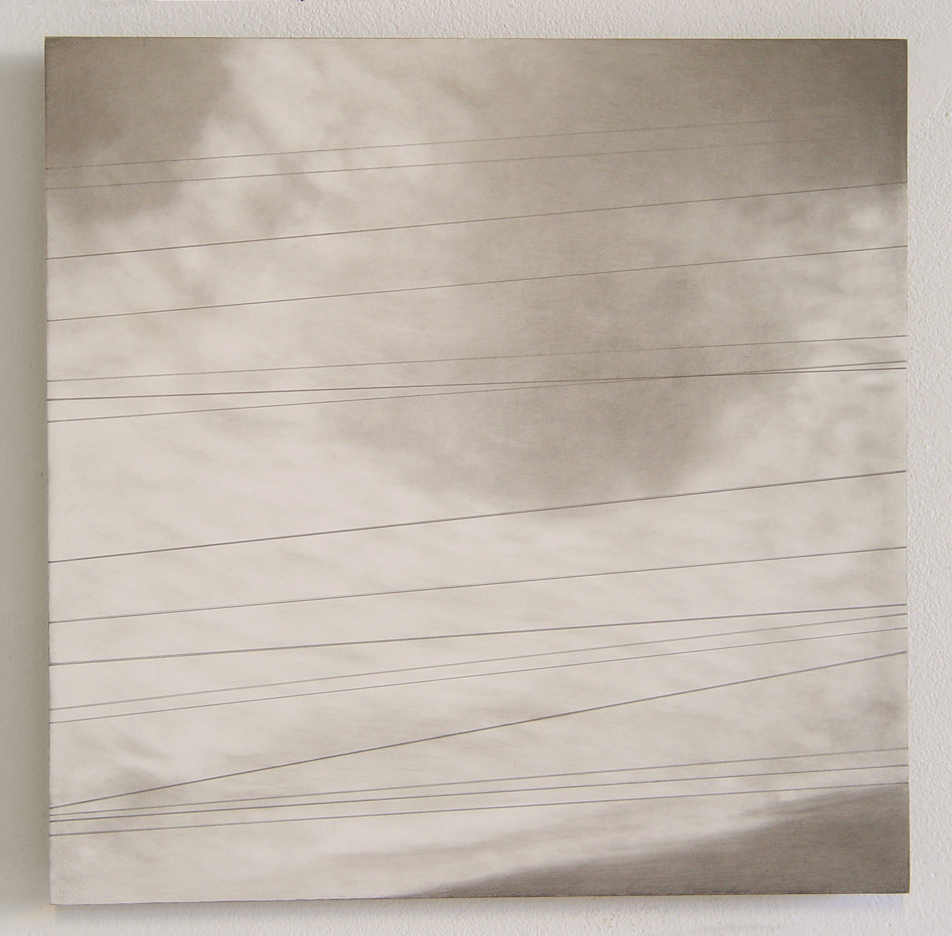 """Lines #5,  2003-2004, graphite on formica mounted on masonite, 11"""" x 11"""". Image courtesy of Patricia Zarate."""