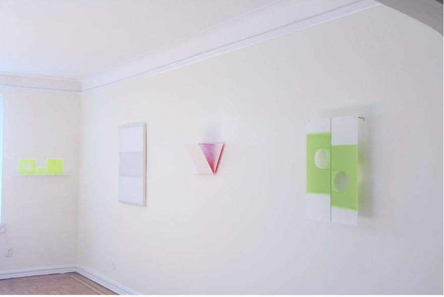 Installation view of  Light Installation,  Key Projects, 2013. (l. to r.) Lynne Harlow, Douglas Witmer, Henriette van't Hoog, Mary Schiliro. Image courtesy of Key Projects.