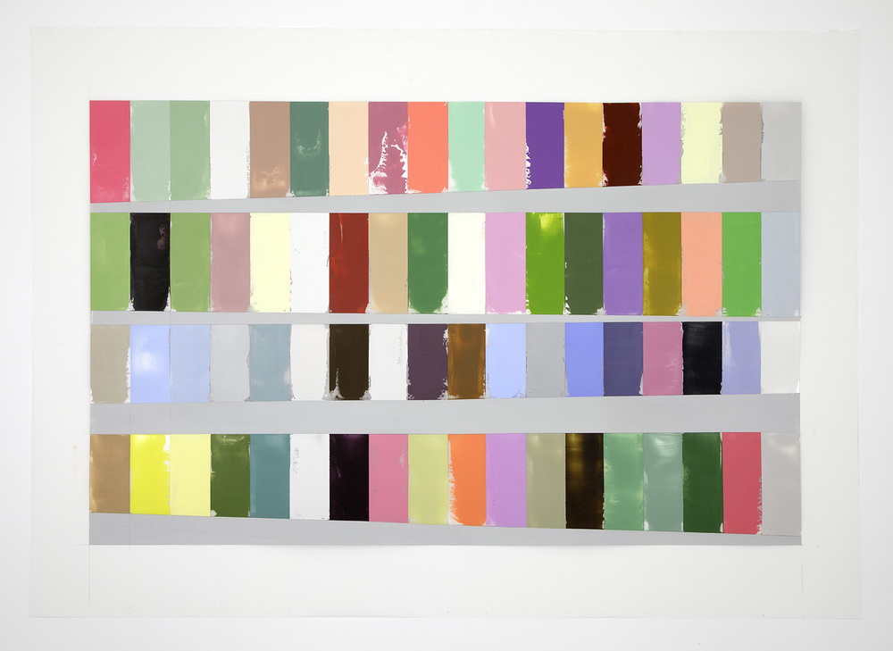 A Year of Color, Adjusted for Day Length  ,  40 x 60 inches, acrylic on polyester resin film, 2014. Image courtesy of Debra Ramsay.