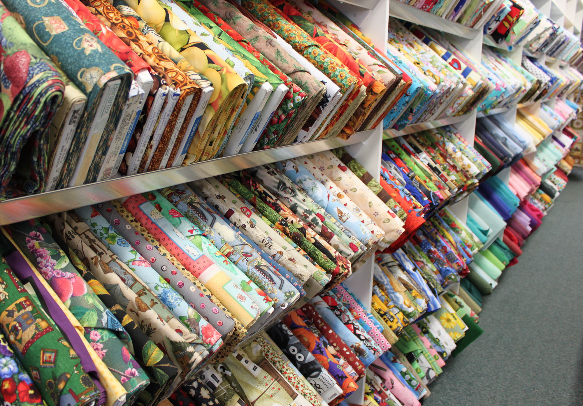 Fabrics - Cotton, Polyester, Pellons, Felt, Baby Bambino and more! We have so many patterns and solid colours to choose from.