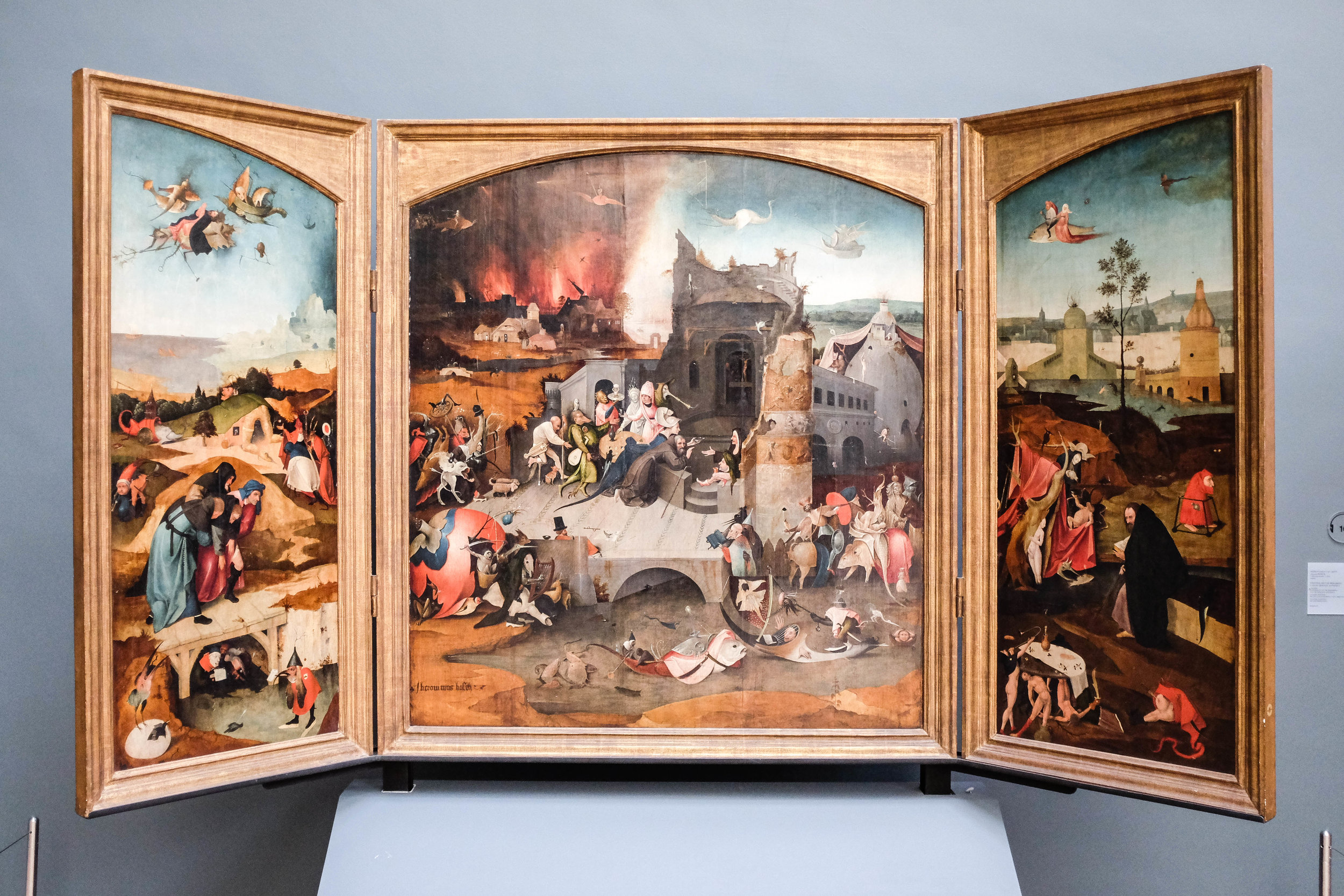 A triptych by the 16th century master Hieronymus Bosch - whose wild imagination paired with artistic talent brought us some truly odd, often nightmarish pieces.