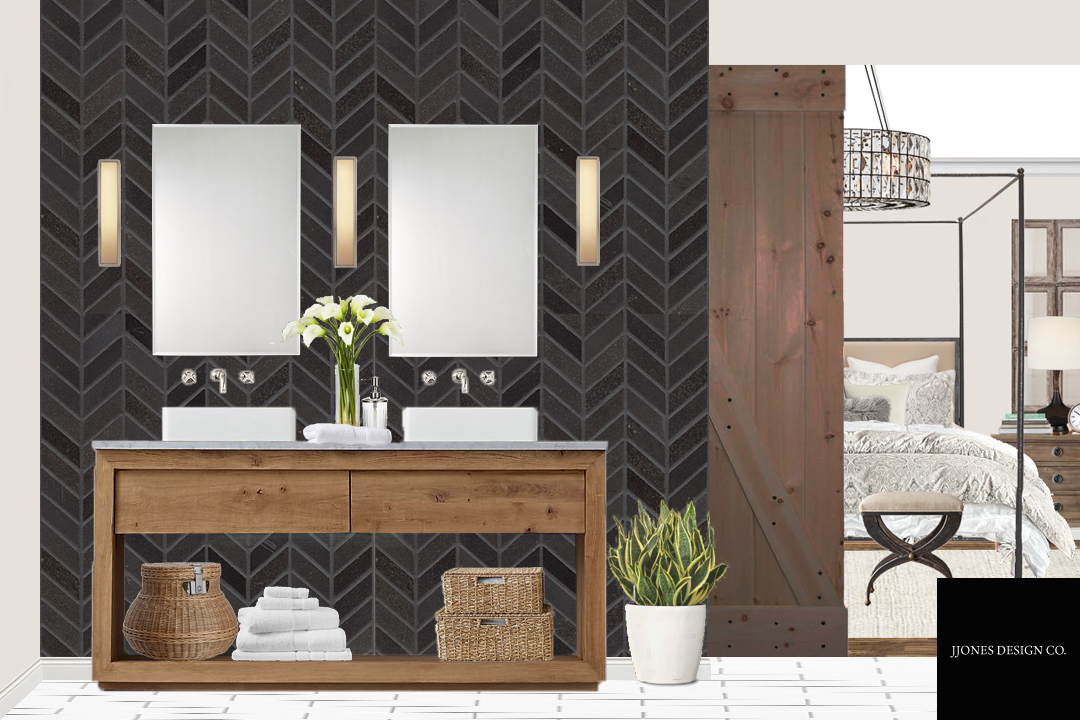 Another side of Modern Industrial Style Master Bath with a peek of master bedroom