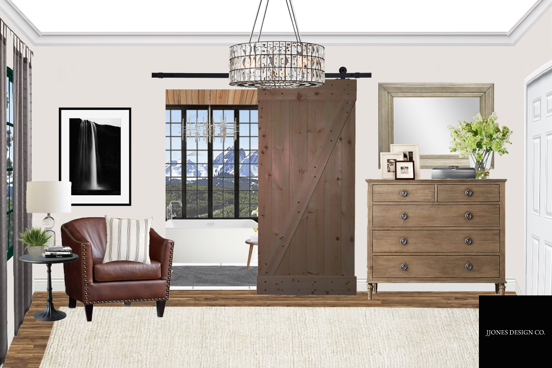 Another side of Rustic Glam Style Master Bedroom with a peek of Master Bath