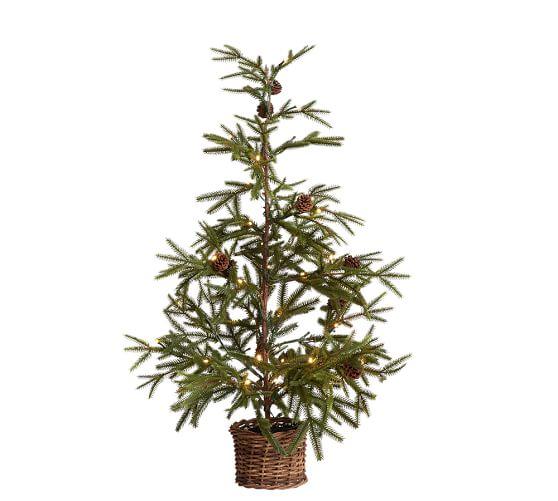 """36"""" Faux Lit Pine Tree in Basket"""