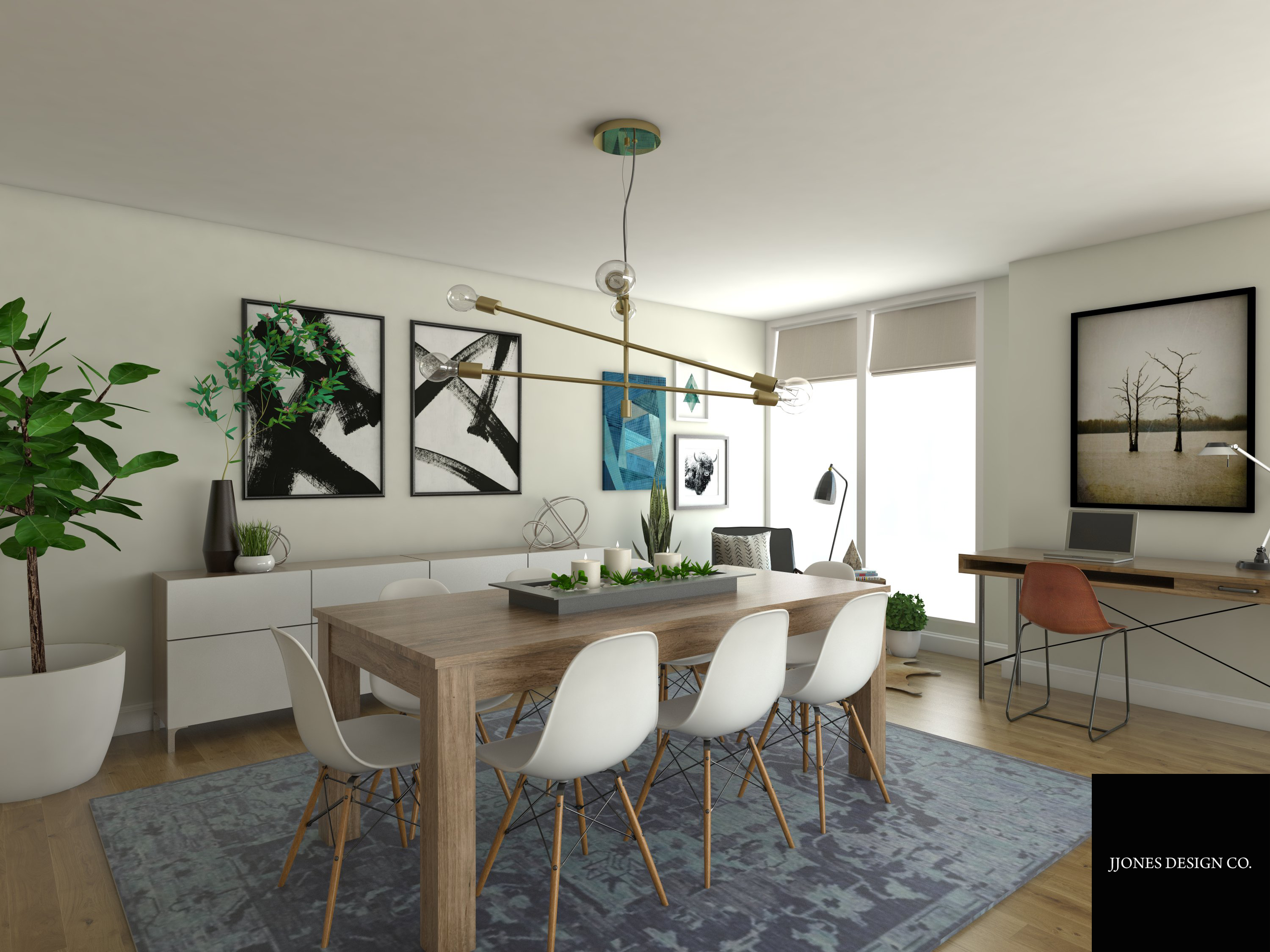 Modern Boho Dining Room 3D Rendering 2.png
