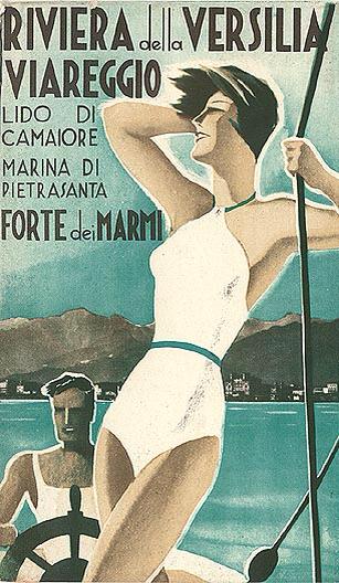 """Versilia Yachting Rendez-vous, a new boat show event for luxury yachts, will be held in Viareggio this May.   Artwork: """"Riviera della Versilia Viareggio,"""" circa 1935,unsigned."""