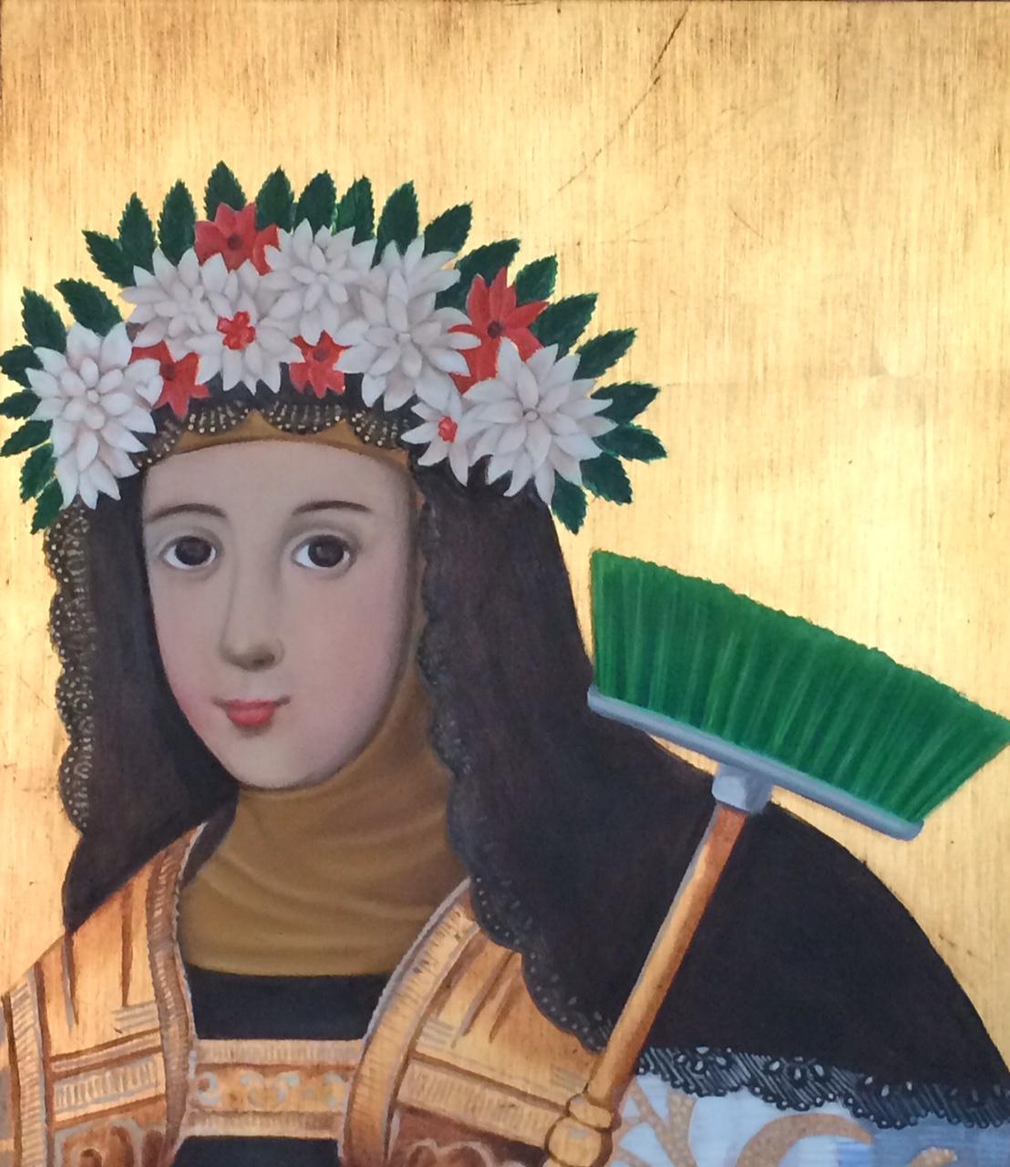 Santa Clara, de la serie Santo Oficio. EN-BOLA-ATADOS. Óleo sobre madera con hojilla dorada. 38 x 33 cms. 2015