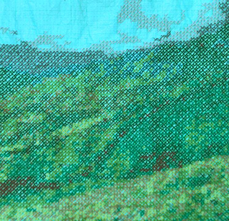 PUNTO DE CRUCE, bordado en punto de XY sobre tela de cerramiento verde.