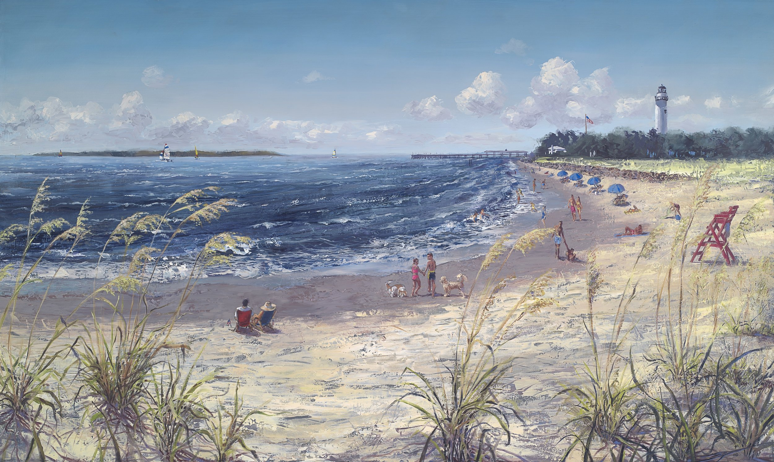 """Williamson Beach Scene"". Oil on panel. 36x60"". 2016"