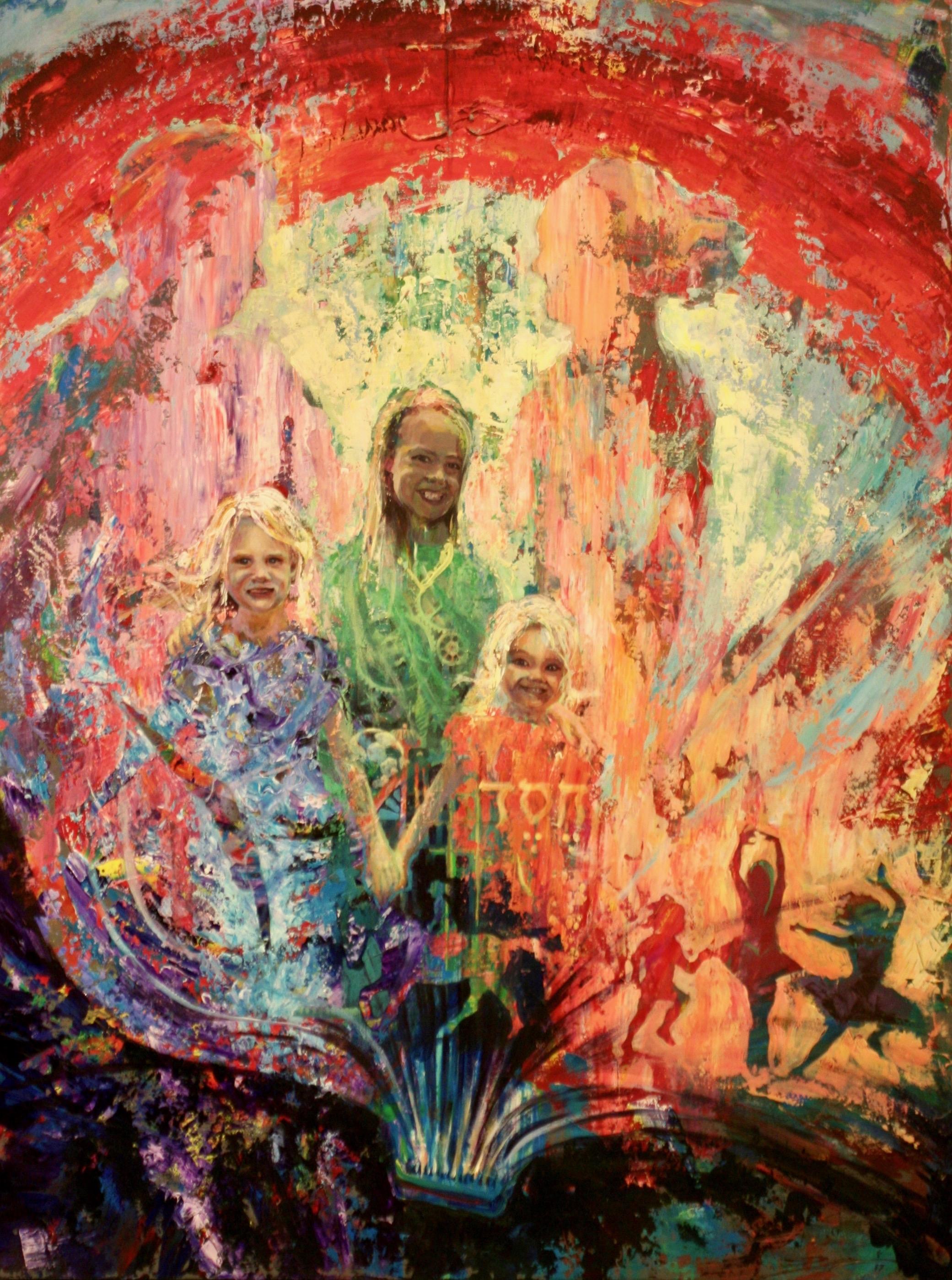 """Wren Family"".  Acrylic on Panel.  32x48"". 2017"