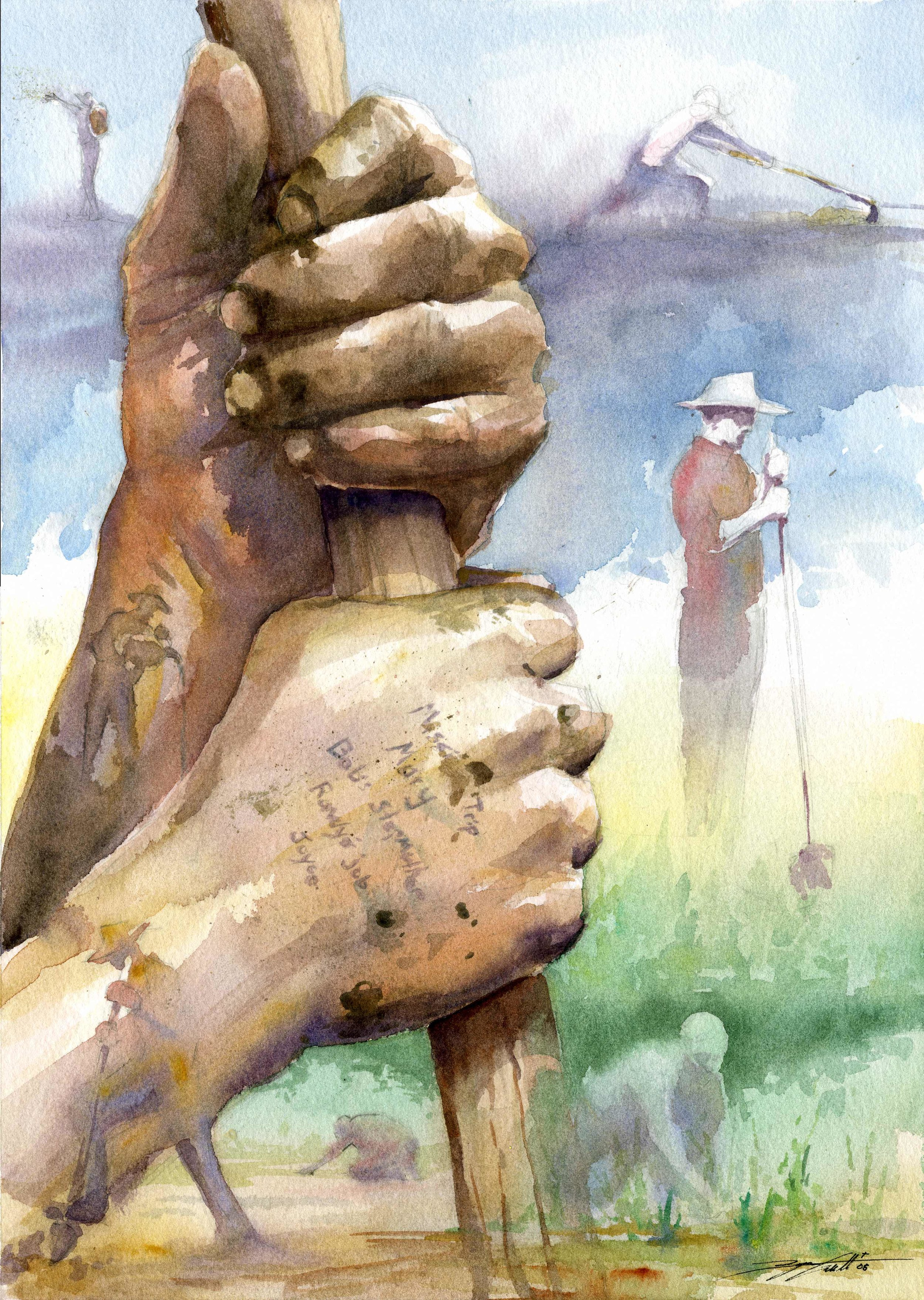 """John Holbrook's Hands"".  Watercolor.  12x16"". 2007."